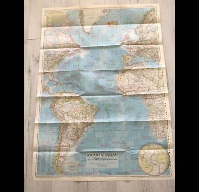 Vintage Dec 1955 National Geographic fold out large map of Atlantic Ocean