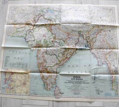 Vintage 1946 National Geographic large fold out map India & Burma (Myanmar)