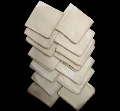Vintage set of 14 linen square cream napkins with lace edge