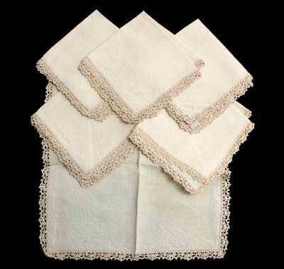Vintage set of 6 linen square cream napkins with crochet lace edge
