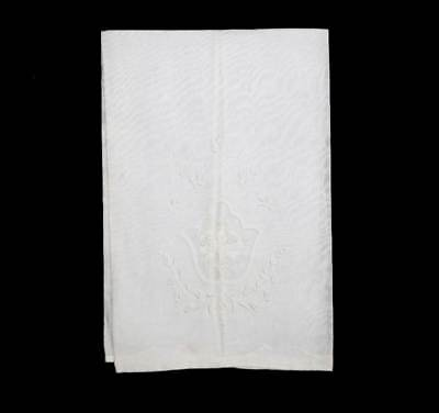 Vintage white embroidered applique Marghab style linen hand towel napkin