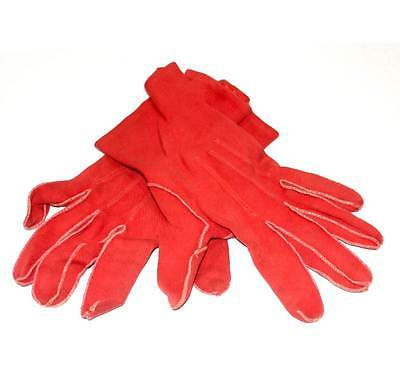 Vintage 1950s red cotton size 7 ladies gloves measuring 21cm from middle finger