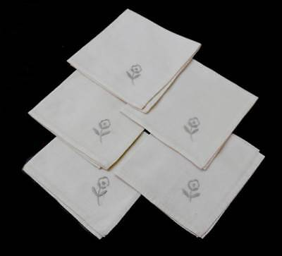 Vintage set of 5 napkins with flower embroidery 29x29cm