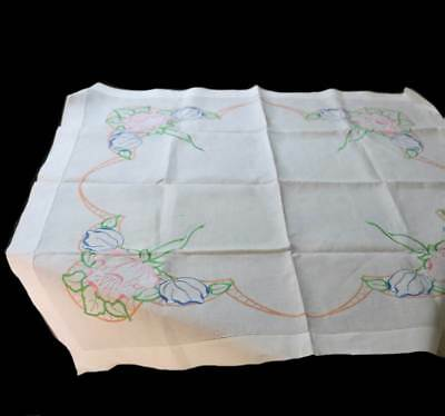 Vintage linen embroidered lilies white supper cloth 88cm square