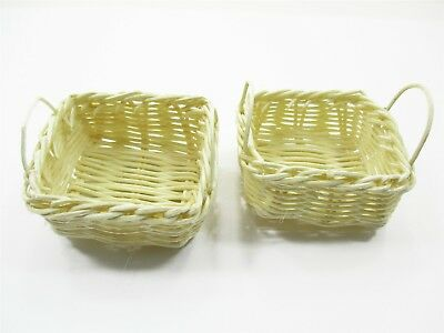 Dollhouse Miniature Handmade 2 Wicker Baskets Tray Accessories/Supply 13705