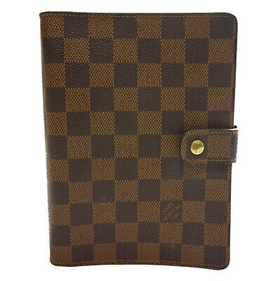 Authentic LOUIS VUITTON Agenda MM notebook cover Damier Ebene PVC #1279