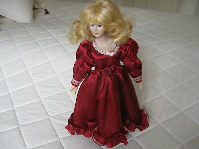 Collectable   Porcelain Doll Beautiful Homemade Clothes On Stand