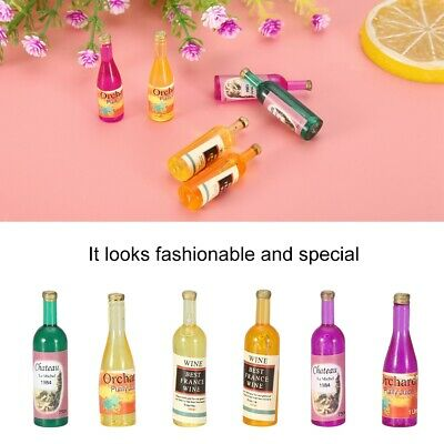 6pcs/ Set Dollhouse Small Miniature 1:12 Wine Whisky Bottle Bar Home Decor