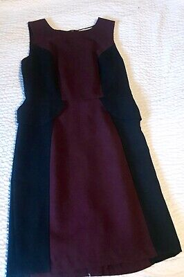 bb174b494646 Womens Plum Black Color Block Peplum Sheath Work Career Cocktail Dress Size  6