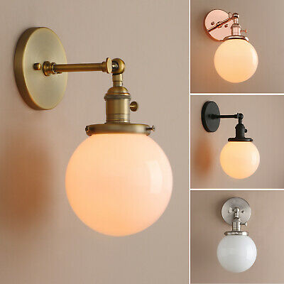 Pathson Retro Industrial Wall Lamp Globe White Glass Sconce Up Down Wall Light