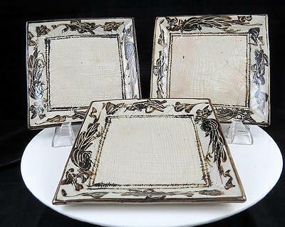 """Japanese Art Pottery Incised 3 Piece Brown Design 5 3/8"""" Square Trinket Dishes"""