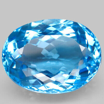 38.2ct.Top Sky Blue Topaz 100%Natural (Brazil) Oval Facet BIG! AAA Shimmering Nr