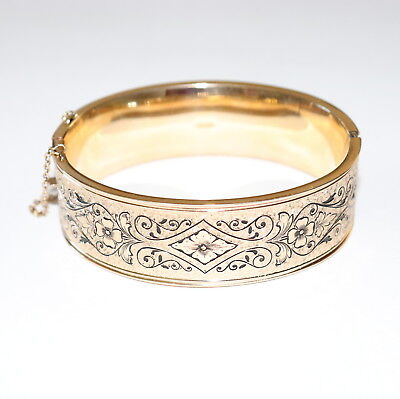 Antique Wide 12k Gold GF Taille d'Epargne Bangle Bracelet Vintage c1930 Art Deco