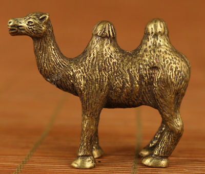 Collectible China Old Pure Copper handwork Carve Camel lucky small Statue