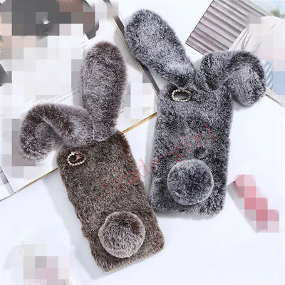 Cute Plush Bunny Design Bling Glitter Diamond Soft Rabbit Fur Phone Case Cover