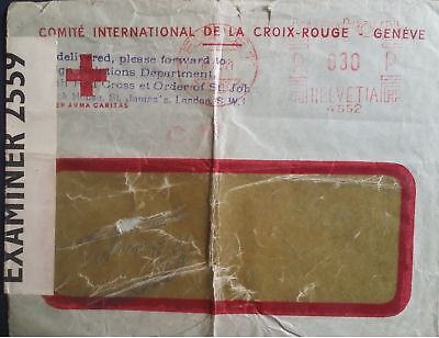 Switzerland Postal History 1941 Red Cross Croix-Rouge Geneve Opened by Examinier