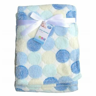 First Steps Baby Blanket 75 x 100cm Blue Dots