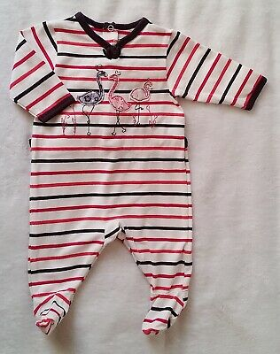 59508be4c0ad4 PYJAMA COTON RAYÉ flamants bébé fille été 1 MOIS SERGENT MAJOR - EUR ...