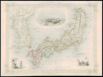 "1850 Illustrated Antique Map ""JAPAN & COREA"" KOREA Asia by TALLIS (137d)"