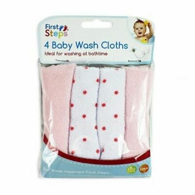 First Steps 4 Baby Wash Cloths - Pink