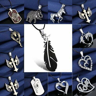 2pcs Stainless Steel Heart Feather Crystal Pendant Necklace Couple Lover Gift