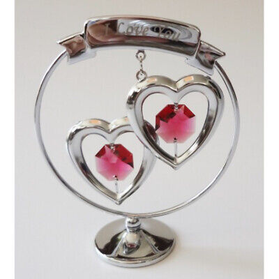 I Love You Two Hearts Crystocraft Chrome Ornament 8cm Swarovski Crystals New