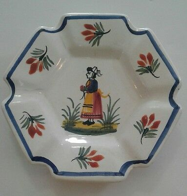 Henriot Quimper Plate Hand Painted Breton Woman Scalloped Edge