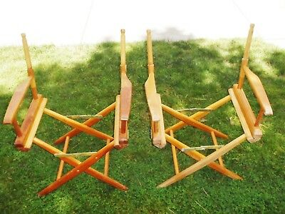 Two(2) Vintage 70's Telescope Folding Chairs Famous Thompson's Clam Bar Cape Cod