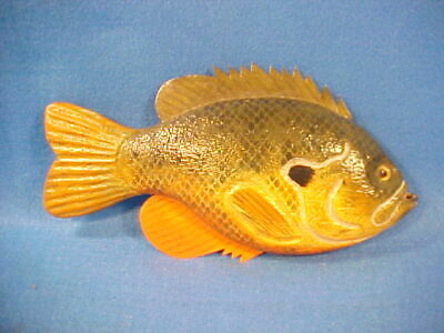 Wonderful Realism Folk Art Carved Wood Fish Plaque By Leon Graham Great Paint