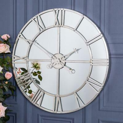 Silver Large Mirrored Wall Mounted Clock Metal Glass Hallway Kitchen Chic Home