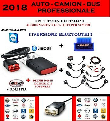 Diagnosi Auto Professionale 2018 Bluetooth + Kit 8 Cavi + Elm 327 + Wow 5.00.12