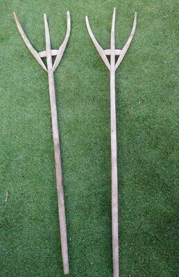 Pair Of Antique pitch fork primitives hay loft/barn /rustic Interior Design