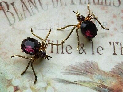 Rare Pair Of Antique Vintage Art Deco Gilt & Glass Stone Spider Brooches