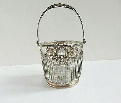 Antique German Henkel Silver Pierced Sugar Bowl Glass Insert Ribbons & Swags