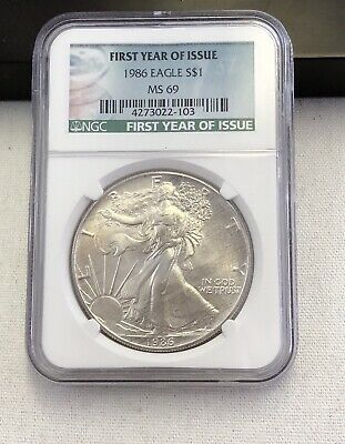 1986 American Silver Eagle NGC MS69. First Year Of Issue label