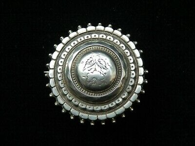 Antique Victorian Hallmarked Silver 1880 Target Memorial Hair Locket Brooch Pin