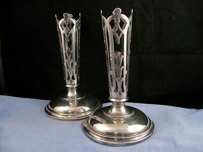 Art Nouveau Antique Pair X2 Gothic Flower Posy Vases Silver Plated Table Ware