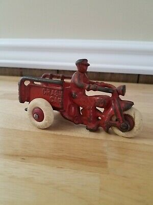 "vintage harley davidson cast iron motorcycle toy ""crash car"" 1930's"