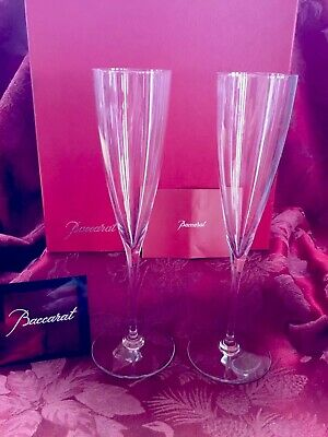 NIB FLAWLESS Exquisite BACCARAT Two DOM PERIGNON Crystal CHAMPAGNE FLUTES WINE