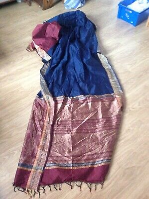 Sari 5m Fabric Gold Red Blue Rich Braided Silk Indian Bollywood Party