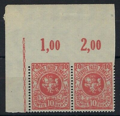 Lithuania 1919 Third Berlin 10s pair imperf between stamp and top margin MNH