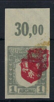 Lithuania 1919 Third Berlin 1a imperf top marginal double centre MNH