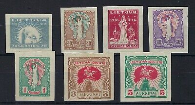 Lithuania 1920 2nd anniv Independence 7 imperf values