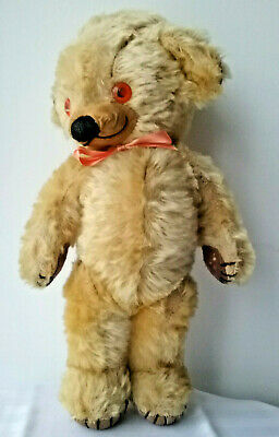 """Vintage old Merrythought Cheeky mohair teddy bear with bells, 1960s, 15"""""""