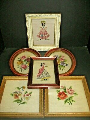 Vintage Hand made embroidered tapestry picture Framed LOT FLOWERS LADIES PICTURE