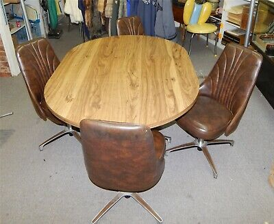 MID CENTURY MODERN Chromcraft Dining Kitchen Table with 4 Swivel Chairs