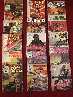 15 Vintage Battle And War Picture Library Comic Various From #626 To #1917