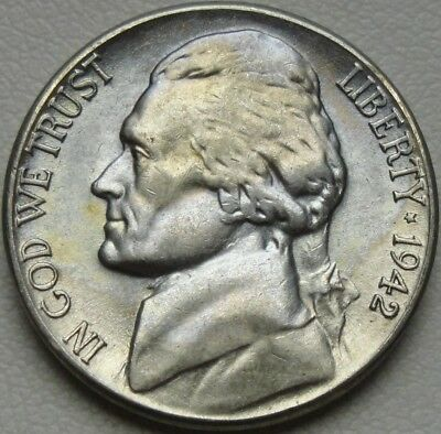 1942-S 5C Jefferson Nickel, Toned, BU, UNC, War Nickel, Silver, #10111