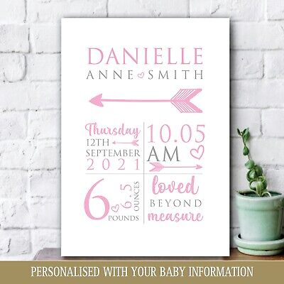 Personalised Baby Print, New Baby Girl Gift, Christening, Nursery Newborn Art 39