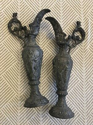 Antique French Cast Spelter Metal Ewer/Urn Pair Intricate Putti Neo-Classical